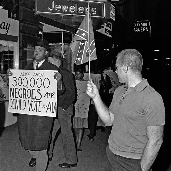 voting protest and white guy